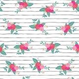 Зацветите букеты на предпосылке картины вектора повторения черно-белых нашивок безшовной Розовые абстрактные розы и foilage в нал иллюстрация штока