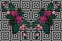 Зацветите вышивка отражения на черной белой безшовной предпосылке нашивки Листья ладони гибискуса plumeria украшения печати моды  Стоковые Фото