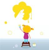 зацветите желтый цвет стены весны картины малыша Стоковое Изображение