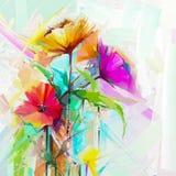 Зацветите картины на предпосылке желтого и красного цвета Предпосылка природы цветка весны сезонная Стоковое Фото