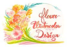 Зацветите рамка предпосылки акварели и дизайн поздравительной открытки Стоковые Фото