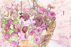 Зацветите хризантема в плетеной корзине сделанной с методами акварели - иллюстрации стоковое изображение rf