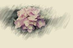 Зацветите цветки дизайна черные винтажные красивые сделанные с цветом f Стоковое Изображение RF