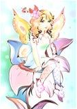 Зацветите fairy усаживание на иллюстрации цвета цветка художнической Стоковые Фотографии RF