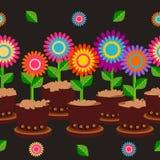 Зацветите I дом бака безшовный украшая предпосылку Стоковая Фотография RF