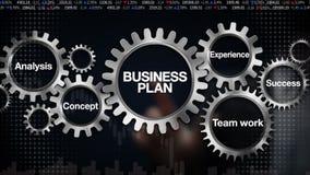 Зацепите с ключевым словом, анализом, работой команды, опытом, концепцией, успехом, экраном касания 'БИЗНЕС-ПЛАНОМ' бизнесмена иллюстрация штока