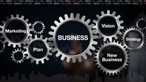 Зацепите с ключевым словом, планом, маркетингом, зрением, стратегией, новым делом, экраном касания 'ДЕЛОМ' бизнесмена иллюстрация штока