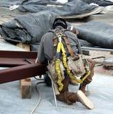 зацепленный ironworker вверх стоковые фото