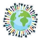 Зачатие единства и поддержки с глобусом иллюстрация штока