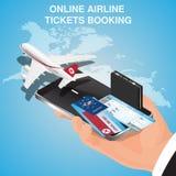 Зачатие полетов дела Авиабилеты онлайн Покупая или записывая авиабилеты Онлайн app для заказа билетов иллюстрация вектора