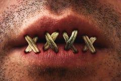 Зашитый рот Стоковые Изображения RF