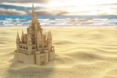 Зашкурьте замок на пляже на предпосылке моря и неба Стоковое Изображение RF