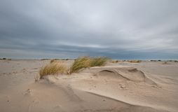 Зашкурьте кресло на бурном пляже под темным небом Стоковое Изображение
