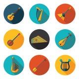 Зашнурованные значки музыкальных инструментов плоские Стоковые Изображения