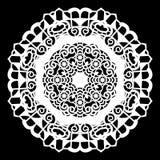 Зашнуруйте вокруг бумажного doily, кружевной снежинки, приветствуя элемент, шаблон для резать прокладчика, круглой картины, шабло Стоковые Изображения