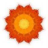 Зашнуруйте оранжевую мандалу с тенью на белой предпосылке декоративный сбор винограда элементов Ислам, арабский, индийский, мотив Стоковые Изображения