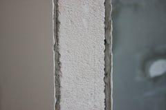 Заштукатуренная стена блоков газа, заштукатуренная и подготовка стен для заканчивать Ремонт и конструкция стоковое изображение rf