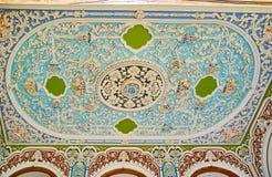 Заштукатурьте потолок в доме Qavam, Ширазе, Иране Стоковая Фотография RF