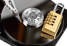 Защита данных на жестком диске с замком Стоковые Изображения RF