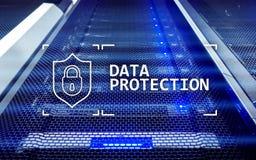 Защита данных, безопасность кибер, уединение информации Интернет и концепция технологии Предпосылка комнаты сервера стоковое фото