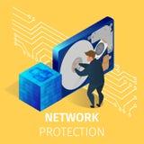 Защита компьютерного оборудования в комнате сервера иллюстрация вектора