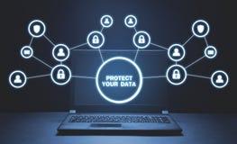 Защитите ваши данные Концепция безопасности кибер стоковые фото