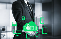 Защитите концепцию данным по данным по облака Безопасность и безопасность данных по облака Стоковые Фото