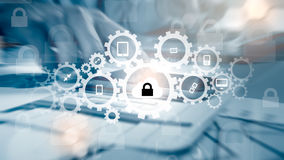 Защитите концепцию данным по данным по облака Безопасность и безопасность данных по облака Стоковое Изображение