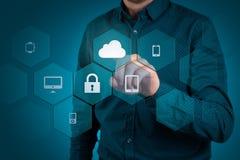 Защитите концепцию данным по данным по облака Безопасность и безопасность данных по облака Стоковые Изображения