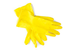 Защитные резиновые перчатки изолированные на белой предпосылке Стоковое Изображение