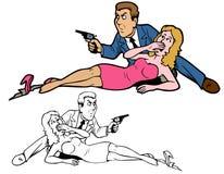 Защищать девушку в кино изверга Стоковое фото RF
