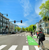 Защищенная майна велосипеда в улице города Стоковое Фото
