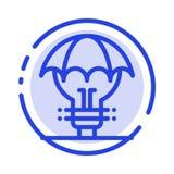 Защищенные идеи, авторское право, оборона, идея, линия значок голубой пунктирной линии патента иллюстрация вектора