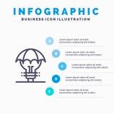 Защищенные идеи, авторское право, оборона, идея, линия значок патента с предпосылкой infographics представления 5 шагов иллюстрация штока