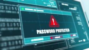 Защищенный паролем экран компьютера сообщения об ошибках системы охранного оповещения системы предупреждения видеоматериал