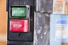 Защищенный старт и неохраняемые кнопки стоп Стоковая Фотография