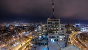 Заявите индустрию строя дворец timelapse ночи зимы ` Gosprom индустрии или ` сток-видео