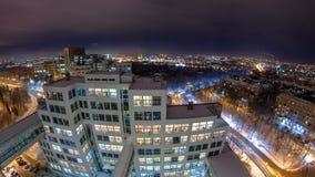 Заявите индустрию строя дворец timelapse ночи зимы ` Gosprom индустрии или ` видеоматериал