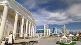 Заявите hyperlapse timelapse оперы Астаны театра оперы и балета astana kazakhstan сток-видео