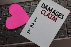 Заявка повреждений текста почерка Компенсация требования смысла концепции судится сообщение Hea бумаги костюма файла страхования  стоковое фото