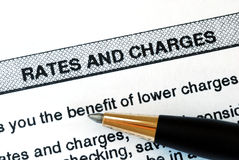 заявление тарифов обязанностей банка стоковые изображения rf