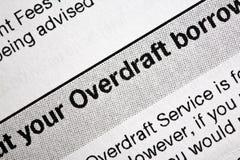 заявление overdraft банка стоковая фотография
