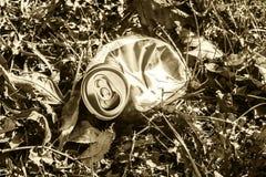 Задавленная чонсервная банка соды лежа в траве - в тоне sepia Стоковые Фотографии RF
