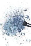 Задавленные голубые тени для век с щеткой состава Стоковое Изображение RF