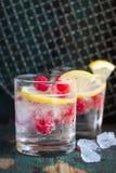 Задавленный коктеиль лимона поленики домодельного лета холодный с сверкная водой и замороженный в стеклах на винтажной предпосылк Стоковое Фото