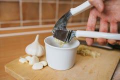 Задавленный чеснок сжимал от прессы чеснока с белым шаром Стоковое Фото