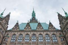 Зала исторического города фасада в Гамбурге, Германии Стоковое Изображение