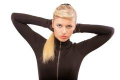 за владениями головки рук справедливой девушки с волосами Стоковые Фото