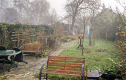 Задворк на туманном утре Стоковое Фото