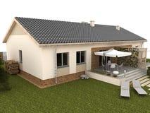 Задворк современного дома с террасой и садом Стоковая Фотография RF